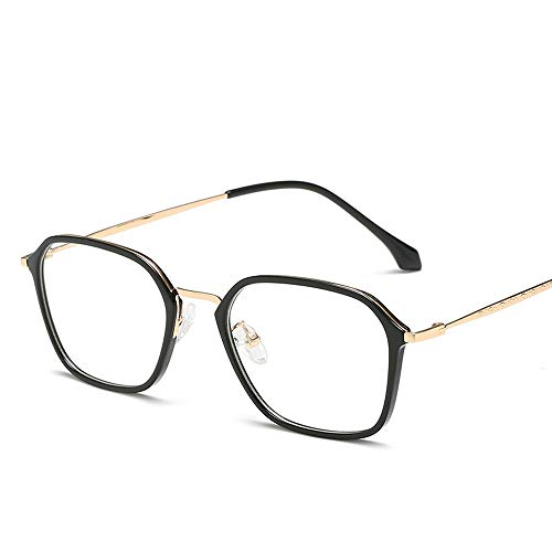 Yiph-Sunglass Sonnenbrillen Mode Studenten Myopie Brille quadratischen Rahmen TR90 Material Unisex Plain Brille (Color : Gold, Size : Kostenlos)