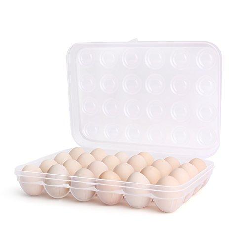 Flexzion - Soporte para huevos con tapa, bandeja de plástico para huevos, dispensador de contenedor, caja de cartón, organizador de almacenamiento apilable con tapa transparente de gran capacidad para refrigerador, nevera, hogar
