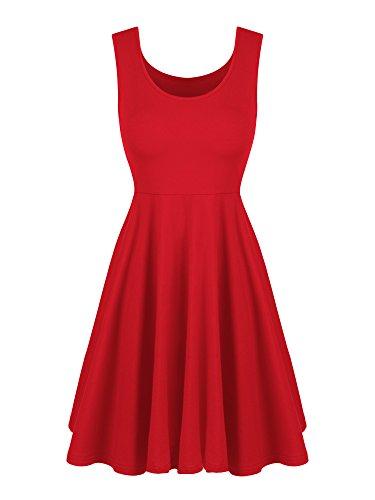 Willbond Tank Dress Damen Sleeveless Schaufel Ansatz Sommer Strand Aufflackern Kleid Beiläufige Lose Tank Kleider (M Größe, Rot)
