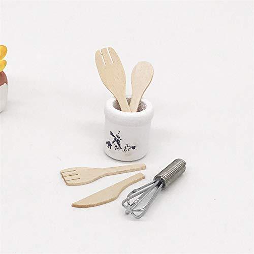 TianranRT Hölzern Küche Gabel Metall Schneebesen Glas Set Puppenhaus Miniaturen 1: 12 Zubehör