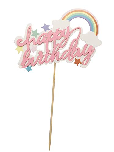 (Somtis Happy Birthday Tortenaufsatz Regenbogensterne Twinkle DIY Glitzer 1. Geburtstag Cupcake Topper Cake Smash Candle Alternative Party Handarbeit)