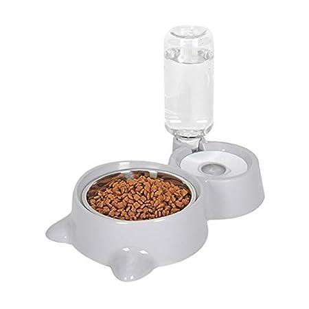 Savlot Automatische Futterautomat Katzen Hunde Trinkwasserspender und Edelstahlfutter Hundenapf Hunde Katzenfutter Dish…