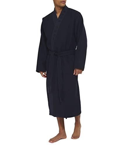 BOSS Herren Bademantel Waffle Kimono, Blau (Dark Blau 403), Large