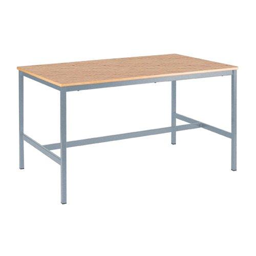 Metalliform EQUPR-126-PS-LG-59-LG-Beech Duraform Mesa de ecuación piel sintética, borde gris claro, madera de haya