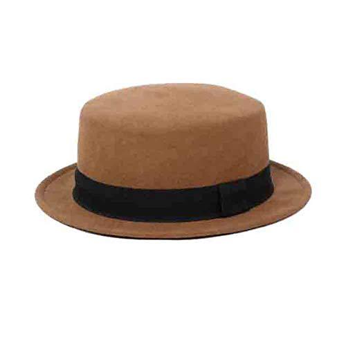 Sunny Fedora Winterhüte Eimer Hut Bogen Akzent Filz Cloche Hut Bowler Hats,Schwarzer Gürtel Flat Top Topper Hut (Farbe : B)
