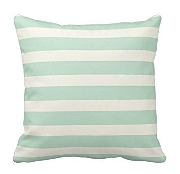 Sea Green-stripe (Yqy Big dream Sea foam Green And Off-White Stripes Pillows Decorative Throw Pillowcase Cushion Case (45cm x 45cm, Two Sides))