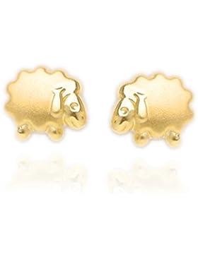 MyGold Schäfchen-Ohrstecker Ohrringe Stecker Gelbgold 585 Gold (14 Karat) Matt-Glanz Ø 5mm Mini Baby Taufe Taufgeschenk...