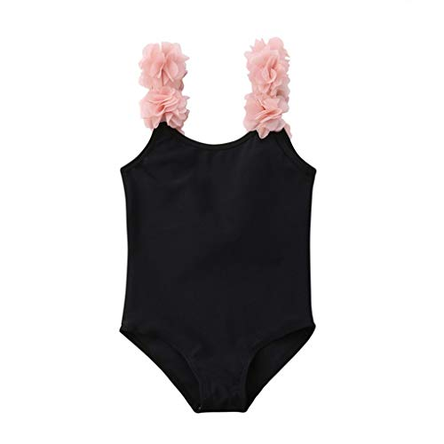 Top-scrunch ((12M-4Y) Kinder Badebekleidung Ärmellose Sommernaht Sling Spitze Halfter Badeanzug Badebekleidung(Schwarz, 120))