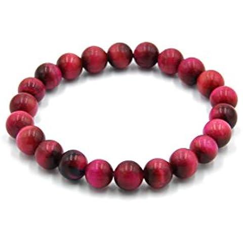 """You & Xi Gem con pietre Semi-preziose, 8 mm 17,78 cm (7"""") Round Beads-Bracciale elasticizzato, Unisex"""