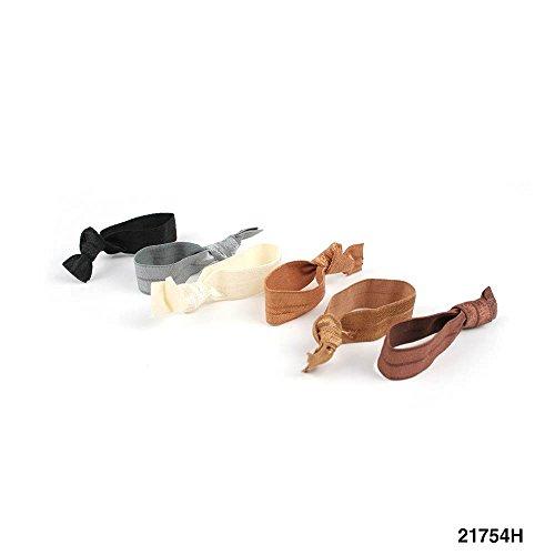 Haargummi-Set mit Knoten ohne Metall, je 6 Stück (natur) 021-00072