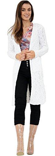 Ladies Cable Knit Slub Coton Longueur Cardigan Taille EUR Taille 36-46 Blanc