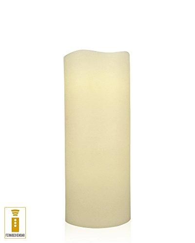 Lichtdekor LED Echtwachskerze 10 x 30 cm Timer Fernbedienung elfenbein