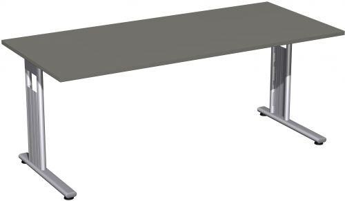 Schreibtisch, 180x80cm, Graphit / Silber