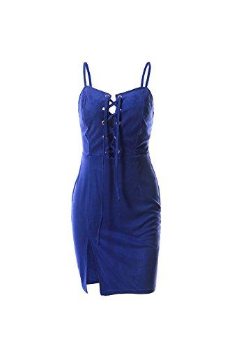 Frauen v-neck spitze an split clubwear slip cocktail kleid Blue