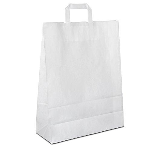 100 x Papiertüten weiß 32+12x40 cm   stabile Kraftpapiertüten   Tragetasche Flachhenkel   Papiertaschen Mittel   Beutel   HUTNER