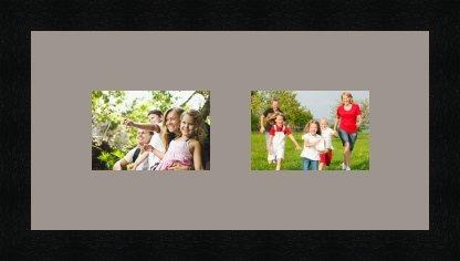 Cadres photos pêle mêle multivues 2 photo(s) 13x9 Passe Partout, Cadre photo mural 38x19 cm Noir, 3 cm de largeur