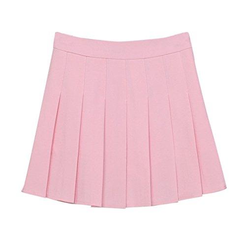 Damen A-Linie Schulmädchen-Stil Skater Röcke Faltenrock Schuluniformtaillen Rock Tennis Rock Pink XXL