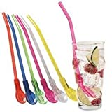 Reusable 9' Multi-Color Spoon Straws (Set of 6) BY JUMBL