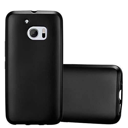Cadorabo Hülle für HTC 10 (One M10) - Hülle in METALLIC SCHWARZ – Handyhülle aus TPU Silikon im Matt Metallic Design - Silikonhülle Schutzhülle Ultra Slim Soft Back Cover Case Bumper
