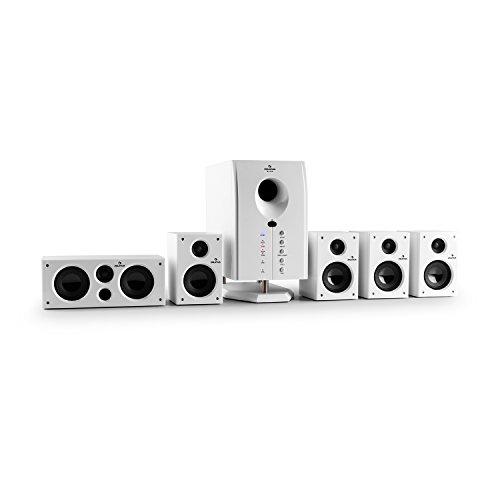"""auna Areal 525 WH • Heimkinosystem • 5.1 Surround Sound System • 125 Watt RMS • Aktiv-Mono-Subwoofer • 13,5 cm (5,25"""")-Sidefiring-Tieftöner • Bassreflex • fünf Satellitenlautsprecher • AUX-Eingang • Sleep Modus • Fernbedienung • Holzgehäuse • weiß"""