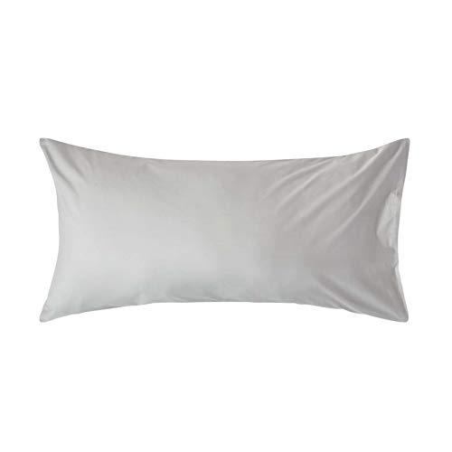 Homescapes unifarbener Kopfkissenbezug grau/Silbergrau extra groß 50 x 90 cm - 100% Reine ägyptische Baumwolle, Fadendichte 200 - Kissenhülle mit Hotelverschluss -