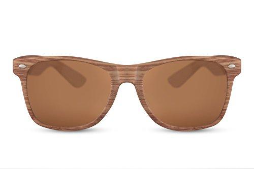 Cheapass Sonnenbrille Braun Eckig Holz-Muster Naturoptik Wood-en UV-400 Hipster Plastik Damen Herren