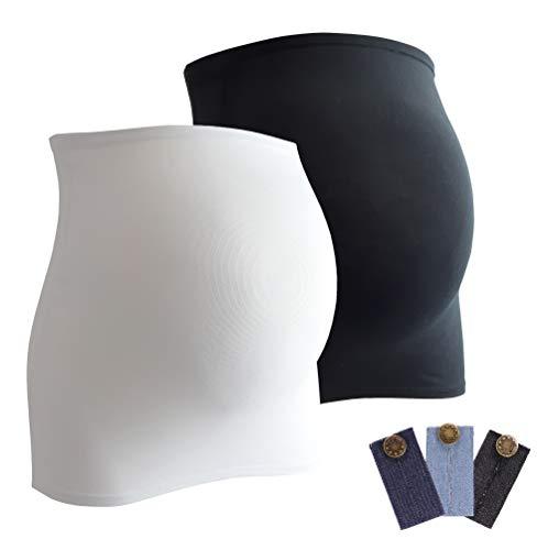 Mamaband Bauchband Doppelpack + gratis Hosenerweiterungen (3 Stück aus Jeans) - Bauchbänder sind von der Marke (R), Weiß/Schwarz, 42-48