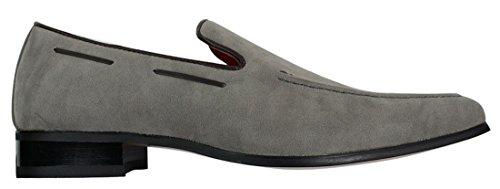 Herren Suede Slip On lässigen-eleganten Italienische Leder Schuhe Velourleder Loafer Grau