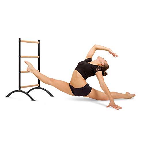 """Klarfit Barre Amelie Stretch-Leiter • Stretching für Beine • Dehnungshilfe für Ballett, Tanzen und Turnen • Training • 24"""" (61 cm) Länge • 4 Höhen • mobil • schwarz"""