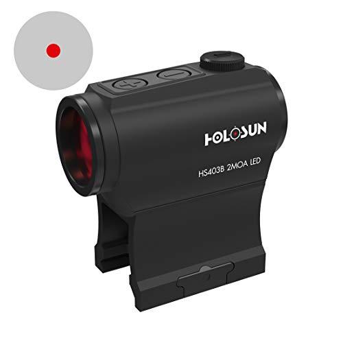 Holosun HS403B Microdot Rotpunktvisier mit 2MOA Punkt Absehen, schwarz, Picatinny/Weaver Schiene, für die Jagd, Sportschießen und Softair, Tactical Micro red dot Sight - 70127379 -