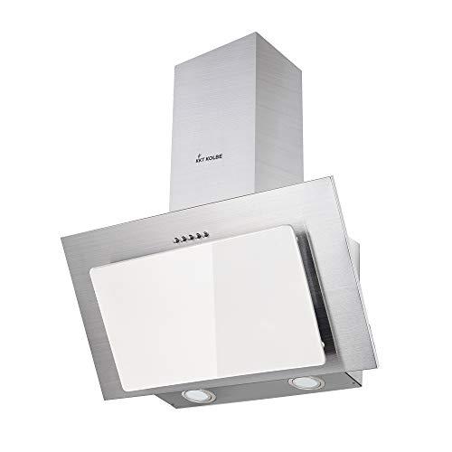 Campana extractora campana 60 cm Iluminación LED acero inoxidable, blanco Diseño KKT...