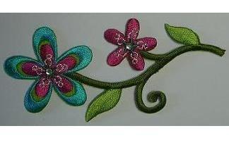 Preisvergleich Produktbild Blumen 10, 5 cm * 4, 8 cm - Bügelbild bunt / Blüten Ranke Ranken Blume Blüte - Blumenranke Aufnäher - Applikation