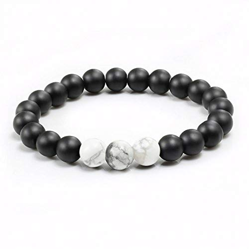Aroma Naturals, Aromatherapy (QIANJY White Turquoises Black Matte Natural Stone 6 Styles Classic Strand Beaded Bracelets&Bangles Couples Distance Jewelry Friend Gift)