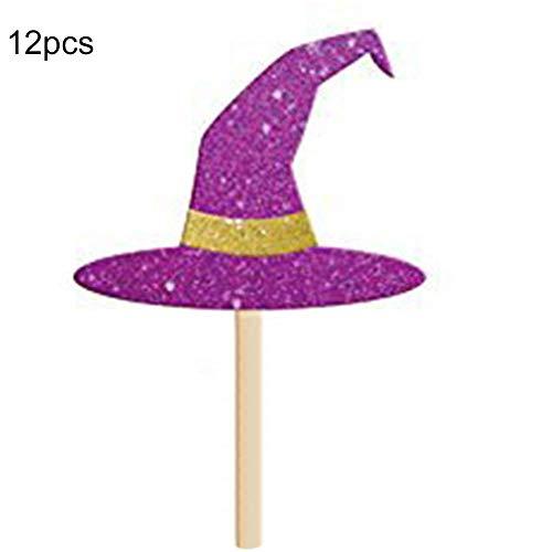 Cupcake 12 Teile Geburtstag Halloween Hut Dekorationen Mini Fledermaus (Hexe Hatwitch Hut) - Hexenhut, witch hat