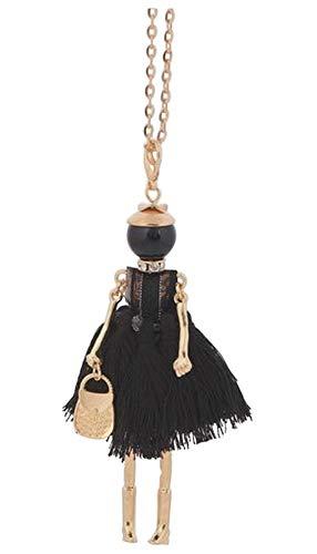Halskette mit Anhänger Puppe Kleid aus schwarzem Bommel Stahl vergoldet