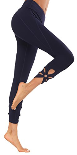 Slimming Workout Leggings High Waist Compression Running Tights for Women (Navy1, M)