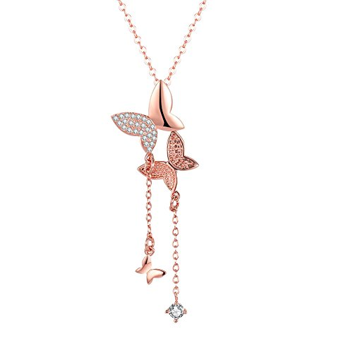 Yellow Chimes 18K Rose Gold Plated Butterfly Dual Charm Pendant for Girls...
