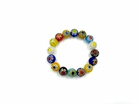 Skyllc® 12mm Colorful Single Flower Glass Round Beads Stretch Bracelet