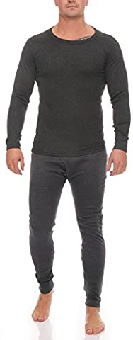 1 Langes Set Herren Thermo Unterwäsche Gr. 5, anthrazit Unterhose mit Eingriff und Unterhemd beides innen