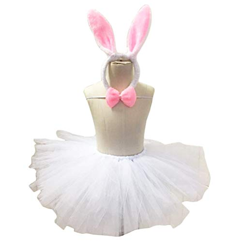 BESTOYARD Ostern Tag Kostüm Blase Rock Kaninchen Ohren Stirnband Fliege Kleidung Set Bunny Gaze Prinzessin Kleid Party Kostüm Anzug für Kinder Kinder (Osterhase Kostüm Mädchen)