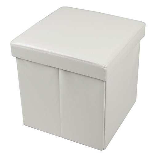 folding-storage-stool-with-lid-ivory-faux-leather-38cm-cube-pouffe-seat-ottoman