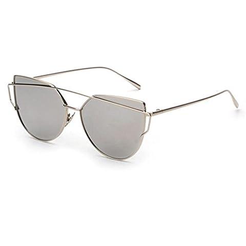 Unisexe/Femmes/Homme Étaient châssis métallique Mince Mode Oeil de chat Lunettes de Soleil par Reaso (Gris)