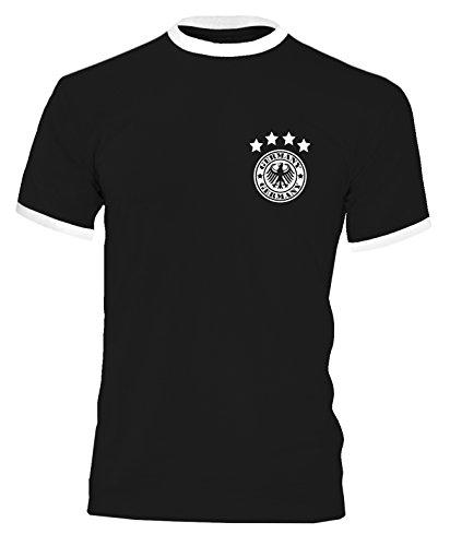 Luckja EM 2016 Trikot Deutschland Fanshirt Retro-Look Motiv 14 Herren Rundhals T-Shirt Schwarz/Weiss
