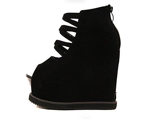 GTVERNH-la primavera e l'estate di nero 8.5cm scarpe sexy cross con pendenza tacchi spessa impermeabile in bocca di pesce locale sandali.,37 Thirty-nine