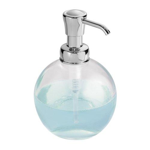 InterDesign York Dispensador de jabón líquido para baños, dispensador de Cristal de diseño, Transparente/Plateado