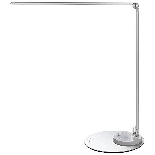 LED Schreibtischlampe TaoTronics Metall Tageslichtlampe mit 6 Helligkeits- und 3 Farbstufen, Ultradünn, augenschonende LED, Speicherfunktion, USB Ladeanschluss, Energieeffizient silberweiß