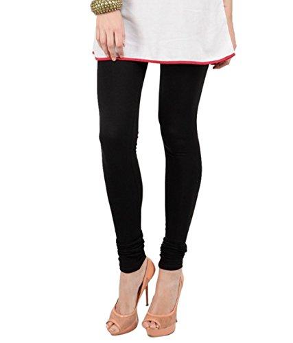 Afro womens cotton solid color girls ethinic churidar leggings black