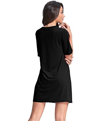 StyleDome Femme Mini Robe Tunique Col V Manches Courtes Casual Sexy Robe de Soirée Cocktail Club Noir 504305