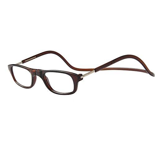 JEE Lesebrille Herren Damen Brille Magnet Reading Glasses OL02(braun,+1.50)
