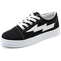 Delicacydex Zapatos de Lona de Estilo Coreano para Mujeres Plataforma de Moda Zapatos Planos Transpirable Clásico Bajo Top Todo el fósforo ata para Arriba los Zapatos - Negro 37